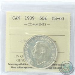 50-cent 1939 ICCS Certified MS-63
