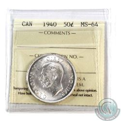 50-cent 1940 ICCS Certified MS-64. A choice Blast White Coin