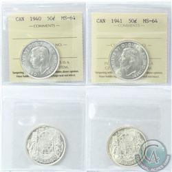 50-cent 1940 & 1941 ICCS Certified MS-64. 2pcs