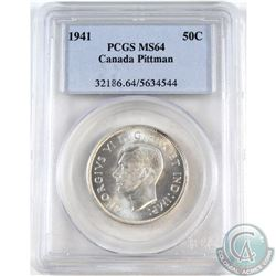 50-cent 1941 PCGS Certified MS-64. Pittman Sale. Hints of light toning with full Mint Luster.