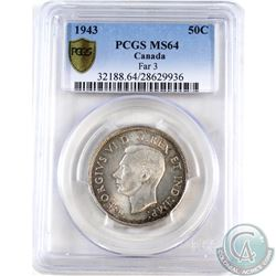 50-cent 1943 Far 3 PCGS Certified MS-64.
