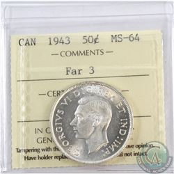50-cent 1943 Far 3 ICCS Certified MS-64. Exceptional Eye appeal with accents of Cameo.