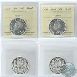 50-cent 1944 Near 4 & 1945 Cameo ICCS Certified MS-63. 2pcs