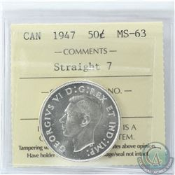 50-cent 1947 Straight 7 ICCS Certified MS-63
