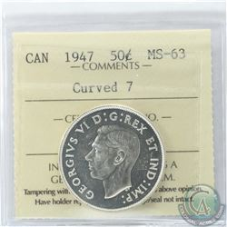 50-cent 1947 Curved 7 ICCS Certified MS-63