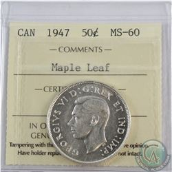 50-cent 1947 Maple Leaf ICCS Certified MS-60.