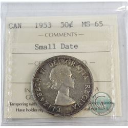 50-cent 1953 Small Date ICCS Certified MS-65  Light iridescent Blue and Violet tones throughout.