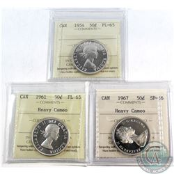 50-cent 1954 PL-65, 1961 PL-65 Heavy Cameo, & 1967 SP-66 Heavy Cameo. All coins have been graded by