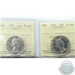 50-cent 1955 & 1956 ICCS Certified PL-66. 2pcs