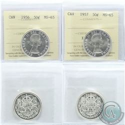 50-cent 1956 & 1957 ICCS Certified MS-65. Both coins are Blast White. 2pcs