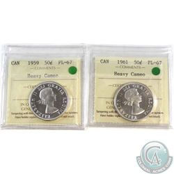 50-cent 1959 & 1961 Both ICCS Certified PL-67 Heavy Cameo  2pcs.