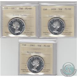 50-cent 1959, 1961 & 1963 ICCS Certified PL-66 Heavy Cameo. 3pcs