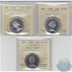 50-cent 1961, 1964 & 1969 ICCS Certified PL-66 Heavy Cameo. 3pcs