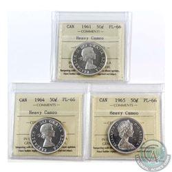 50-cent 1961, 1964, & 1965 ICCS Certified PL-66 Heavy Cameo  3pcs