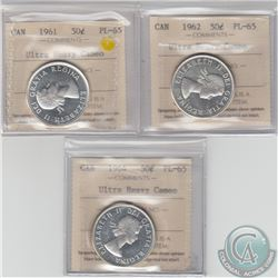 50-cent 1961, 1962 & 1964 ICCS Certified PL-65 Ultra Heavy Cameo. 3pcs