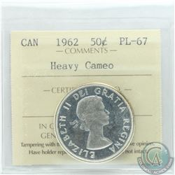 50-cent 1962 ICCS Certified PL-67 Heavy Cameo. Tied for finest known