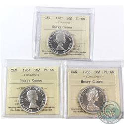 50-cent 1962, 1964 & 1965 ICCS Certified PL-66 Heavy Cameo. 3pcs