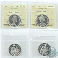 50-cent 1964 & 1965 ICCS Certified PL-66 Heavy Cameo. 1965 is tied for highest grade. 2pcs