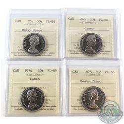 50-cent 1969 Heavy Cameo, 1972 Cameo, 1974 Cameo & 1975 Heavy Cameo ICCS Certified PL-66. 4pcs