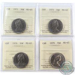 50-cent 1971, 1973, 1976 & 1979 ICCS Certified MS-65. 4pcs