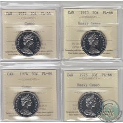 50-cent 1972 Cameo, 1973 Heavy Cameo, 1974 Cameo & 1975 Heavy Cameo ICCS Certified PL-66. 4pcs