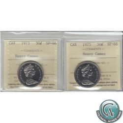 50-cent 1973 & 1975 ICCS Certified SP-66 Heavy Cameo. 2pcs