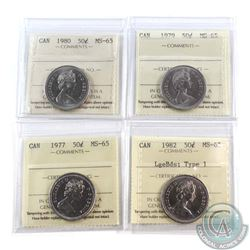 50-cent 1977, 1979, 1980, & 1982 Lge Bds; Type 1. All ICCS Certified MS-65  4pcs