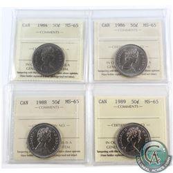 50-cent 1984, 1986, 1988 & 1989 ICCS Certified MS-65. 4pcs