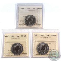 50-cent 1996, 1997, 1998 All ICCS Certified SP-68  TOP GRADE  3pcs.