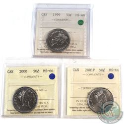 50-cent 1999, 2000, 2001P, All ICCS Certified MS-66  3pcs.