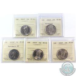 50-cent 2001P, 2002P Ascension, 2003WP Numismatic BU, 2005P & 2006P ICCS Certified MS-66. 5pcs