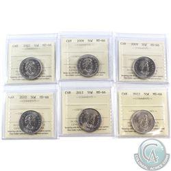 50-cent 2007, 2008, 2009, 2010, 2011 & 2012 ICCS Certified MS-66. 6pcs