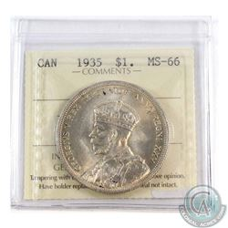 Silver $1 1935 ICCS Certified MS-66. A lightly golden toned coin with caramel Luster throughout.