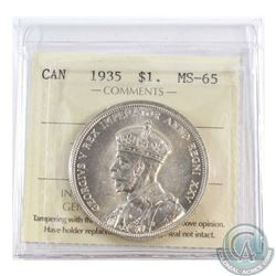 Silver $1 1935 ICCS Certified MS-65. A Blast White coin.