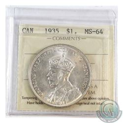 Silver $1 1935 ICCS Certified MS-64