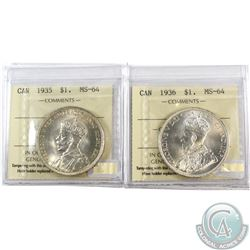 Silver $1 1935 & 1936 Both ICCS Certified MS-64. Both near full white flashy coins. 2pcs.