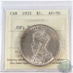 Silver $1 1935 'JOP' Type 2 ICCS Certified AU-50. A Nice example of a scarce variety. Coin contains