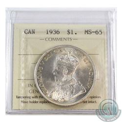 Silver $1 1936 ICCS Certified MS-65. Coin has exceptional eye appeal with soft mint bloom fields.