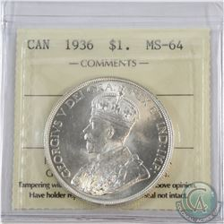 Silver $1 1936 ICCS Certified MS-64.