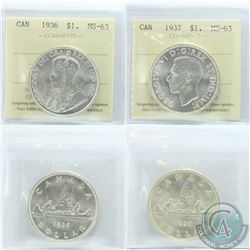 Silver $1 1936 & 1937 ICCS Certified MS-63. 2pcs