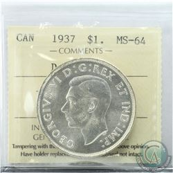 Silver $1 1937 Double HP ICCS Certified MS-64