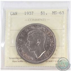 Silver $1 1937 ICCS Certified MS-63.