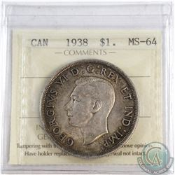 Silver $1 1938 ICCS Certified MS-64.