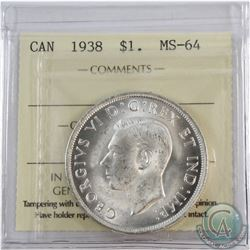 Silver $1 1938 ICCS Certified MS-64. Frosted White Fields throughout.