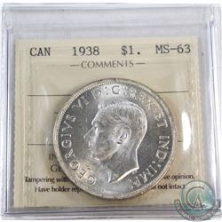 Silver $1 1938 ICCS Certified MS-63. Flashy White Coin.
