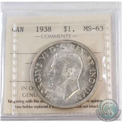 Silver $1 1938 ICCS Certified MS-63. Attractive Frosted white fields.