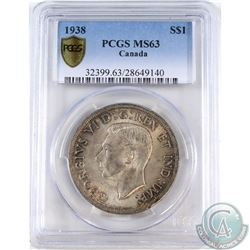 Silver $1 1938 PCGS Certified MS-63.