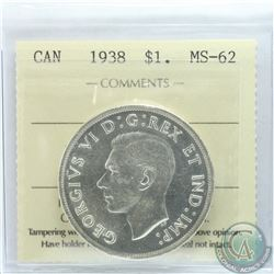 Silver $1 1938 ICCS Certified MS-62