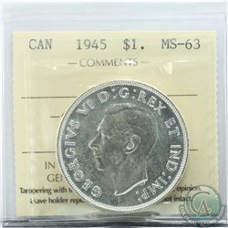 Silver $1 1945 ICCS Certified MS-63. *Key Date*