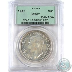 Silver $1 1945 PCGS Certified MS-62